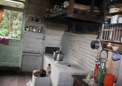 The front room in the house which is used as kitchen